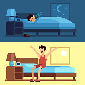 Man sleeping waking up. Person under duvet at night and getting out of bed morning. Peacefully sleep in comfy mattress vector concept
