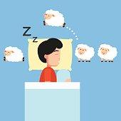 Man sleeping,Counting sheep to fall asleep vector illustration.