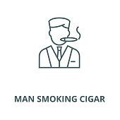 Man smoking cigar vector line icon, outline concept, linear sign