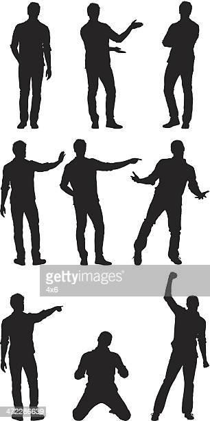 Mann stehen in verschiedenen Posen