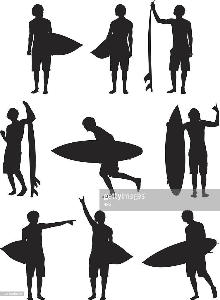 Man standing with surfboard : Vector Art