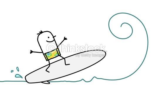 Drawing Lines Surf Movie : Mann surfen auf den wellen vektorgrafik thinkstock