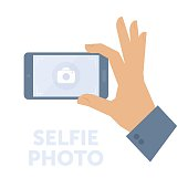 Man taking selfie photo on smart phone. Flat isolated on white background vector design element for web infographic, presentation. Selfie concept illustration of hand holding a smartphone and shooting