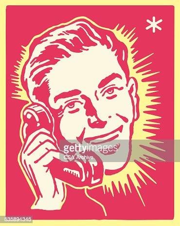 Man Talking on the Telephone : Vektorgrafik