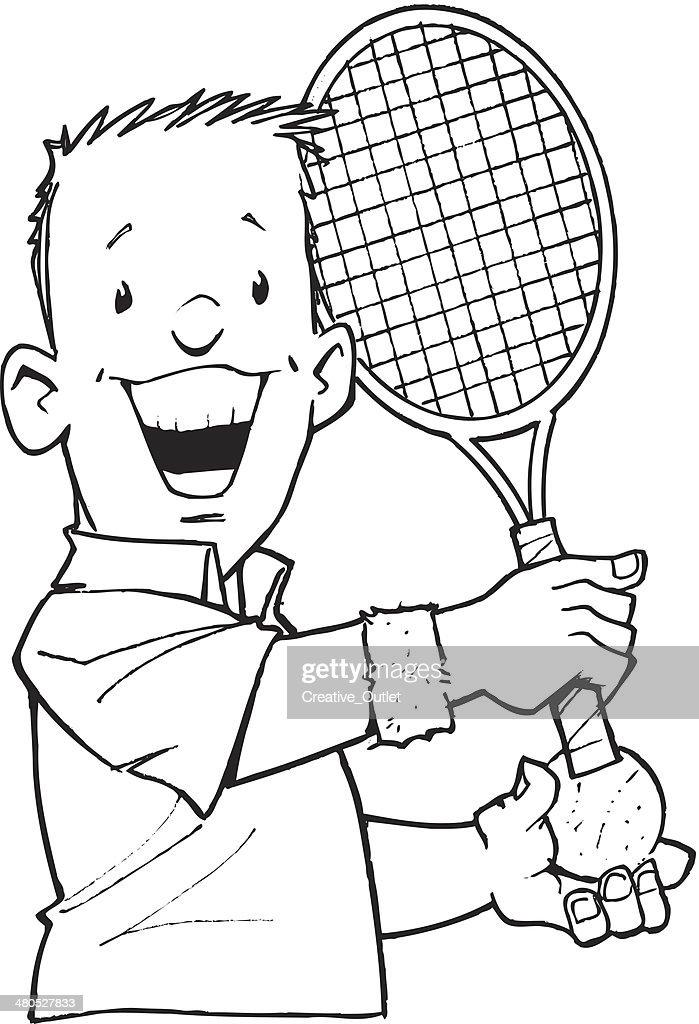 Man Tennis : Vector Art