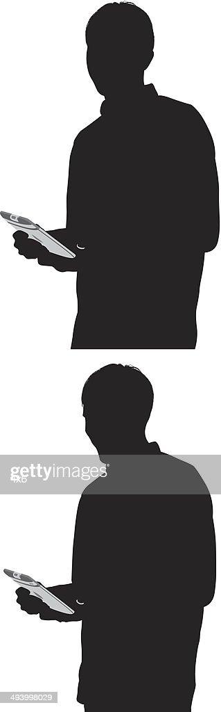Man using tablet : Vector Art