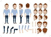 man character creation set. Icons with different types of faces and hair style, emotions,  front, rear, side view of male person. Moving arms, legs. Vector illustration