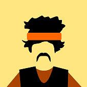 man wearing vest and orange headband