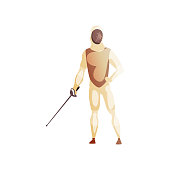 Man wearing fencing suit standing with sword, male fencing athlete character, active sport lifestyle vector Illustration isolated on a white background.