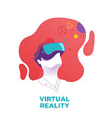 Man wears a VR, virtual reality goggles, glasses. Vector illustration, blue, purple glasses, red background.Digital, VR glasses, 360 degree-view, cyber, 3D, Virtual reality digital device, VR goggles