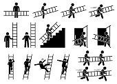 Pictogram showing a man holding and carrying a ladder while walking and running. The person also climbing up and down from the ladder.