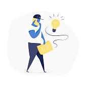 A curious man, cute cartoon man with a stack of paper in hands in doubts, he think and trying to find idea, solution, brainstorming. Flat modern hand drawn vector doodle design illustrations.