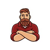 Drawing of man with beard and mustache with arms crossed. Stylish hipster illustration.