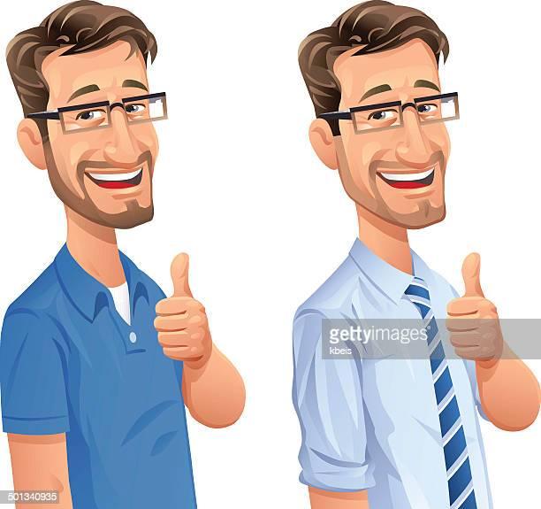 Homme avec barbe gestes Pouce levé