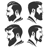 Man with beard variations silhouette in vector