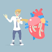 man with heart attack disease, medical internal organs body part nervous system anatomy surgery human heart health care, flat vector illustration cartoon design clip art