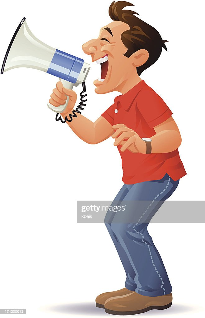 Man With Megaphone Vector Art | Getty Images