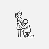 Man kissing the belly of his pregnant wife sketch icon for web, mobile and infographics. Hand drawn vector isolated icon.