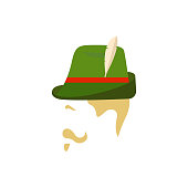 Man with traditional german green hat. Side view. Vector Illustration for Oktoberfest.