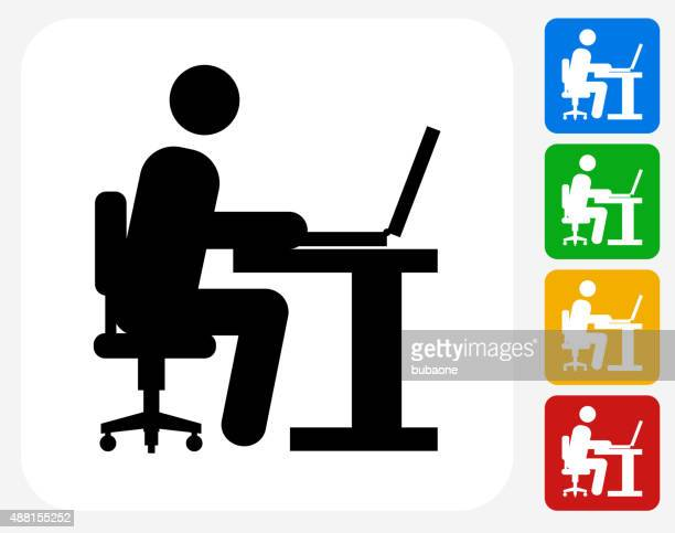 Man Working on Computer Icon Flat Graphic Design