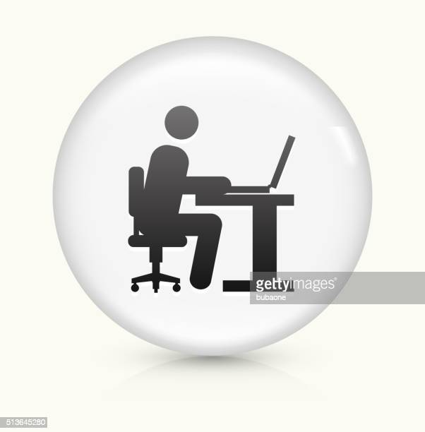 Man Working on Computer icon on white round vector button