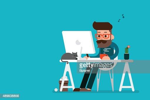 Homme travaillant sur ordinateur. : Clipart vectoriel
