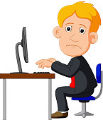 illustration of Man working on computer