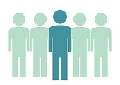 Group of people, web icon for management. Silhouette of human. Vector icon.