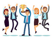 Manager with winning trophy cup and jumping employees. Success business team vector flat concept. People success with cup trophy, victory leader illustration