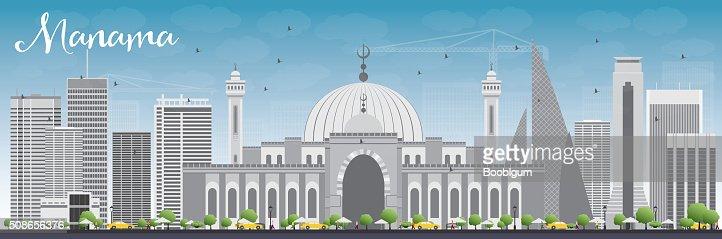 Manama Skyline with Gray Buildings and Blue Sky. : Vector Art