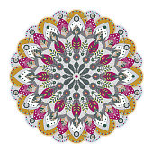 Round decoration made by abstract leaf and flowers shapes, vector illustration.
