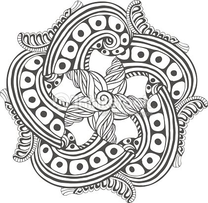 Mandala Para Colorear Libro Páginas Adorno Vector De Patrón Tatuaje ...