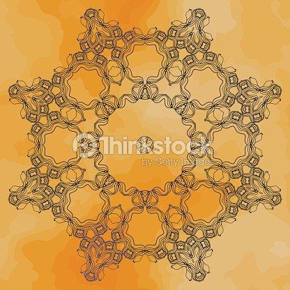 Mandala In Outlines Over Old Paper Henna Coloured Vintage Design