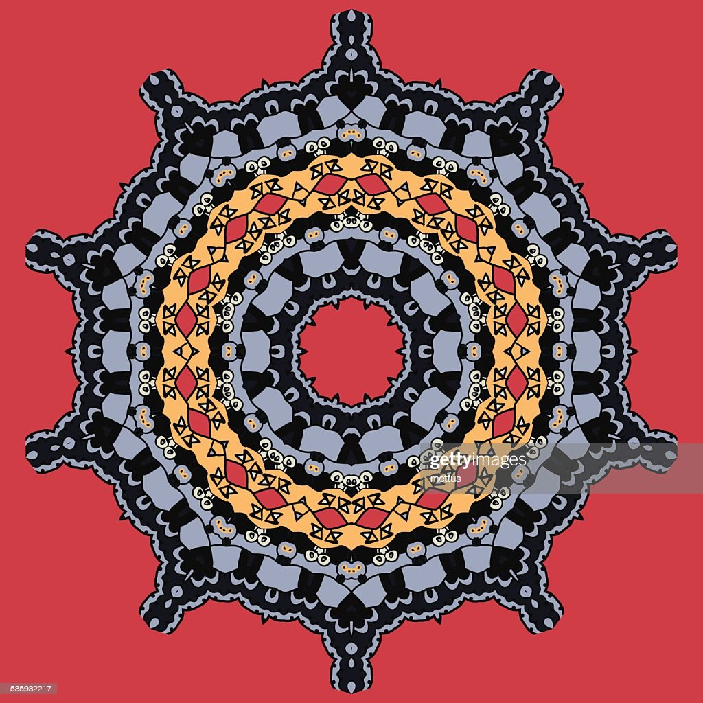 Mandala on Red. Round Ornamental Tribal Pattern : Vector Art