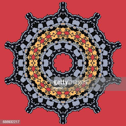 Mandala on Red. Round Ornamental Tribal Pattern : Vector Art