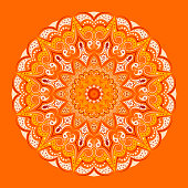 Mandala - orange background, floral patterns, elegant lace lines in yellow and beige and burgundy tones. Symmetry and harmony, fashionable design.
