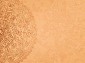 Mandala retro background. Horizontal background with oriental round pattern and texture of old paper. Vector illustration.