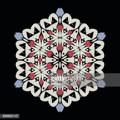 Mandala. Round Ornament Pattern on black background : Vector Art