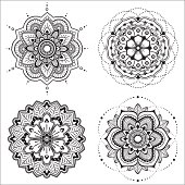 Set of four floral mandala for design or mehndi