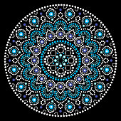 Mandalas doted background inspired by traditional art from Australia, boho decoration
