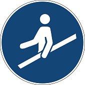 Mandatory action sign,Use handrail