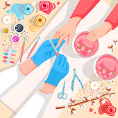 Manicure, hands and nails care top view vector illustration. Beauty salon and spa procedure concept. Young girl makes a manicure in the salon. Manicurist work process