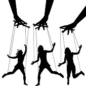 Manipulating arms controlling puppet silhouettes of three women