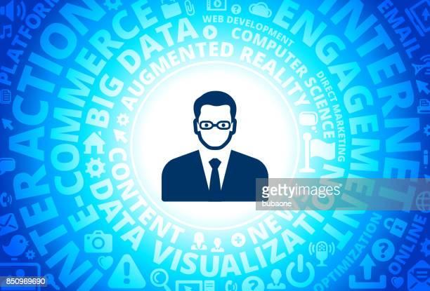 Man's Face Portrait Icon on Internet Modern Technology Words Background