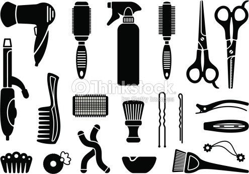 Accessoires de coiffeur clipart vectoriel thinkstock for Accessoire pour salon de coiffure