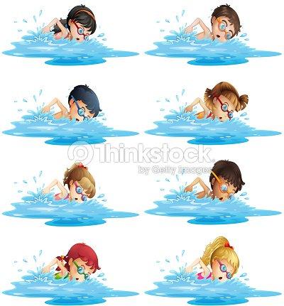 Beaucoup denfants nager dans la piscine clipart vectoriel thinkstock - Nager dans la piscine ...