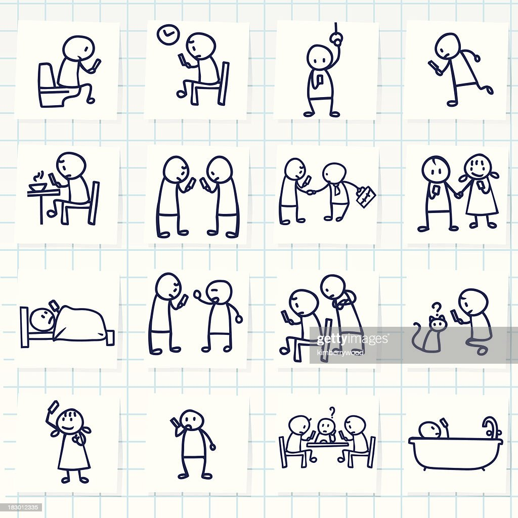 Many different drawings of people using smartphones : Vector Art