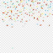 Many Falling Colorful Confetti And Ribbon Isolated On Transparent Background. Vector illustration