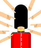Many hands pointing with their finger British guardsman. Unruffled London Queens guard In fur bear hat. English military in beefeater