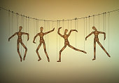 many marionette in different positions hanging on the threats, manipulate the people concept, vector